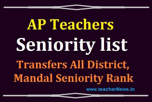 Transfers SGT Seniority list 2020 AP Teachers All District, Mandal Seniority Rank