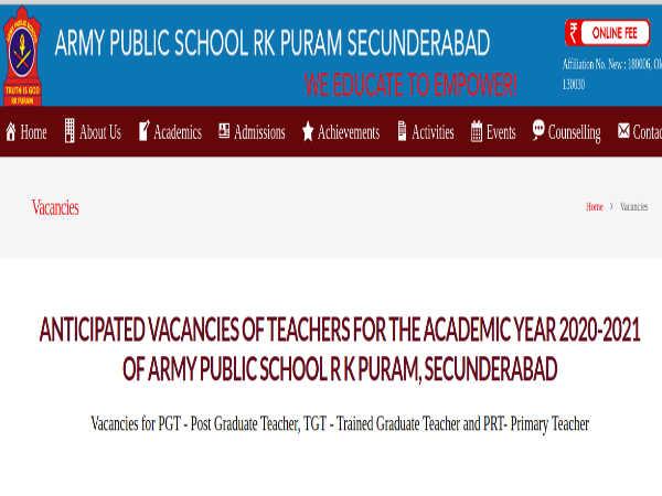 Bolarum APS Teacher Recruitment 2021| Army Public School Faculty Recruitment Apply Here