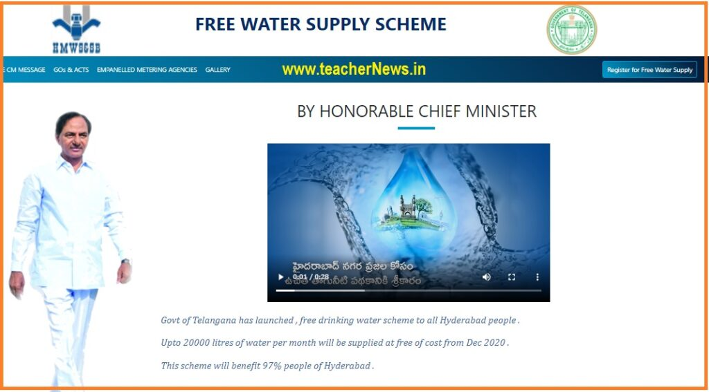 GHMC Free Water Register in Online Process 2021 - How to Online Apply for 20 Liters Free Water