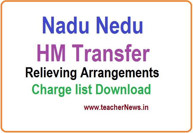 Nadu Nedu HM Transfer Relieving Arrangements Instructions - Charge Transfer Annexure Forms