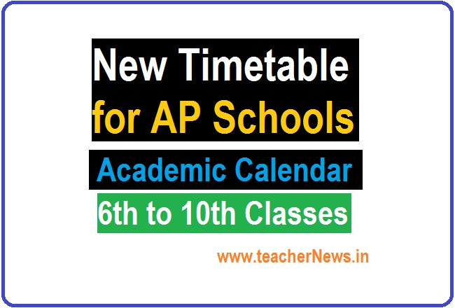 New Timetable for AP Schools for 6th to 10th Classes - AP Academic Calendar 2021