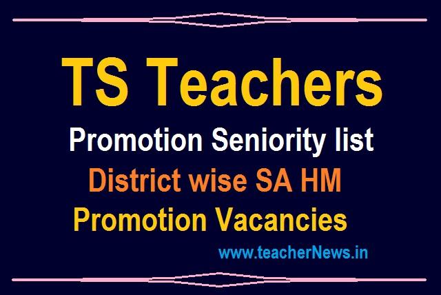 TS Teacher Promotion Seniority list 2021 District Wise SA HM Promotions Vacancy List