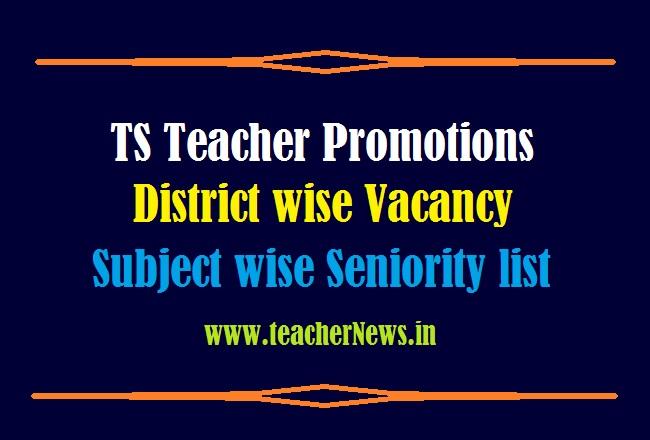 TS Teacher Promotions Seniority list 2021 District Wise Vacancy List Download