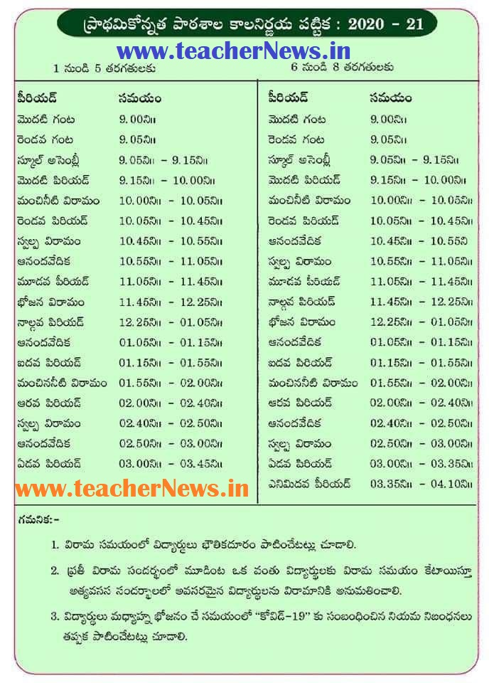 AP Primary School Time Table 2021 - AP SCERT 1st to 5th Class & UP Schools Timetable 2020-21