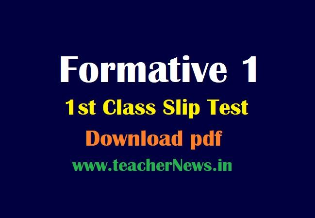 1st Class FA 1 question Papers Telugu English Maths Subjects Slip test Telugu / English Medium