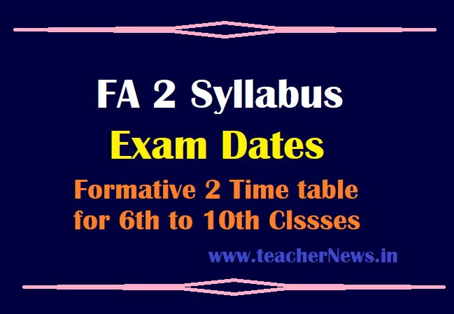 FA 2 Syllabus Exam Dates 2021 (Modified) – Formative 2 Model Question Papers, Pattern