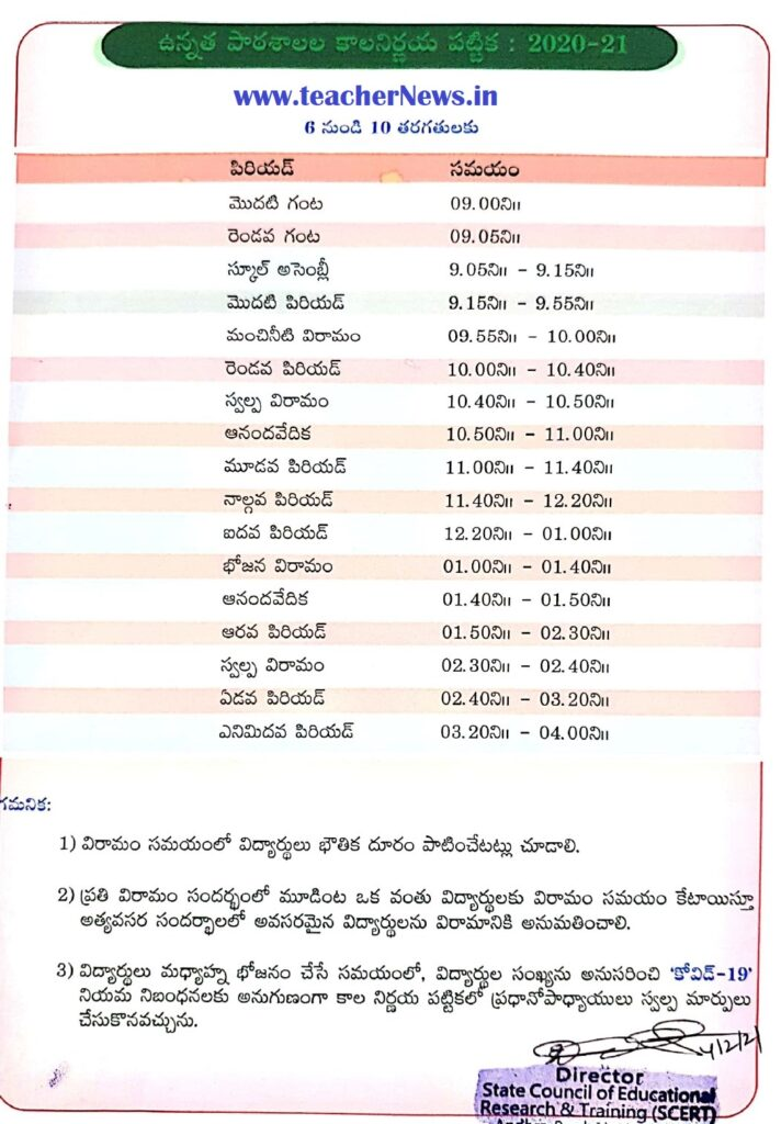 High School Time Table 2020 - 21 - AP Schools Time table 2021