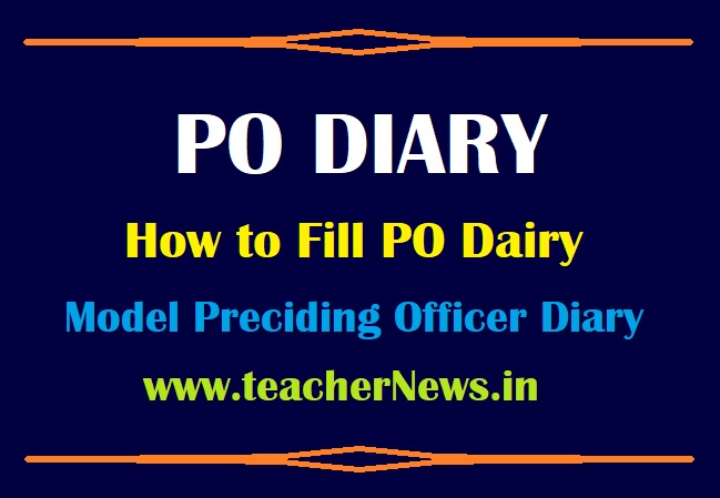 How to Fill PO Dairy in Telugu - Preciding Officer Diary Panchayat Elections 2021