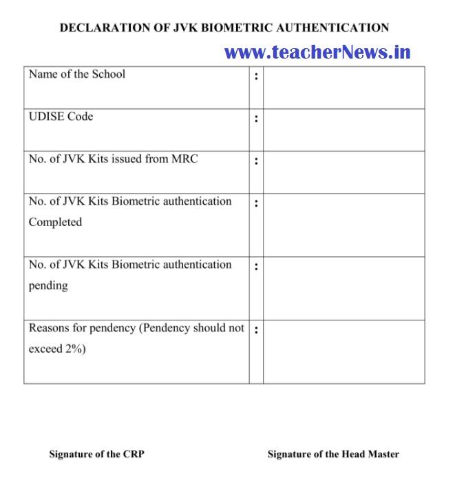 JVK Kit Biometric Authentication Declaration Form