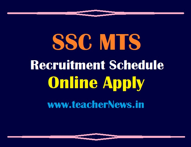 SSC MTS Online Apply Schedule 2021 SSC Multi Tasking Posts Recruitment Vacancy Notification