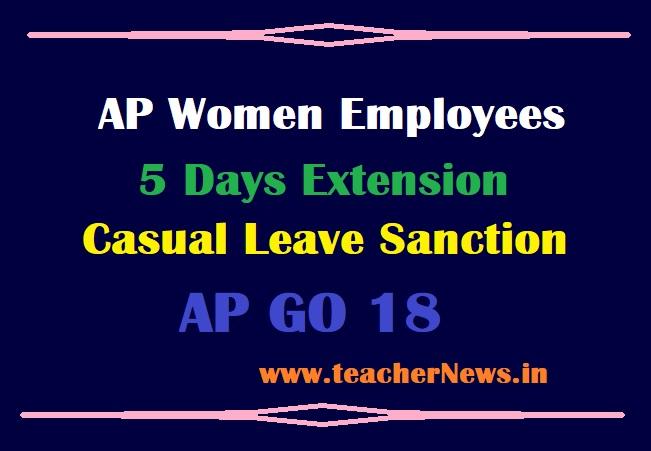 5 Days Extension CL Sanction For AP Women Employees Casual Leave Sanction GO 18