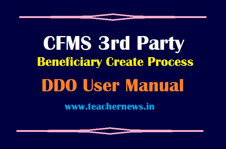 CFMS 3rd Party Beneficiary Create Process By DDO - User Manual with Screen Shots
