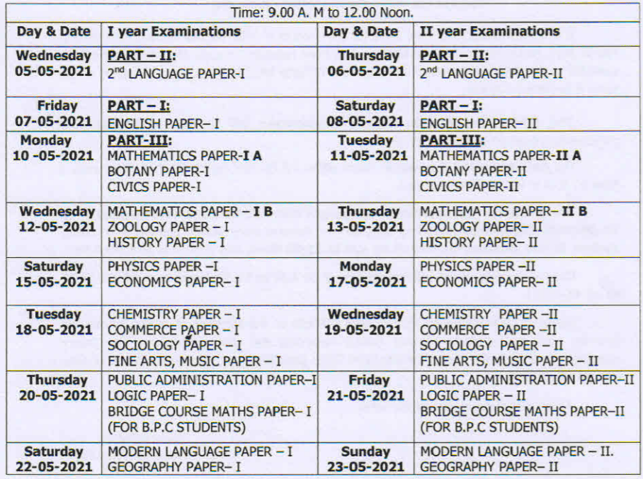 AP intermediate Public Exam Time Table