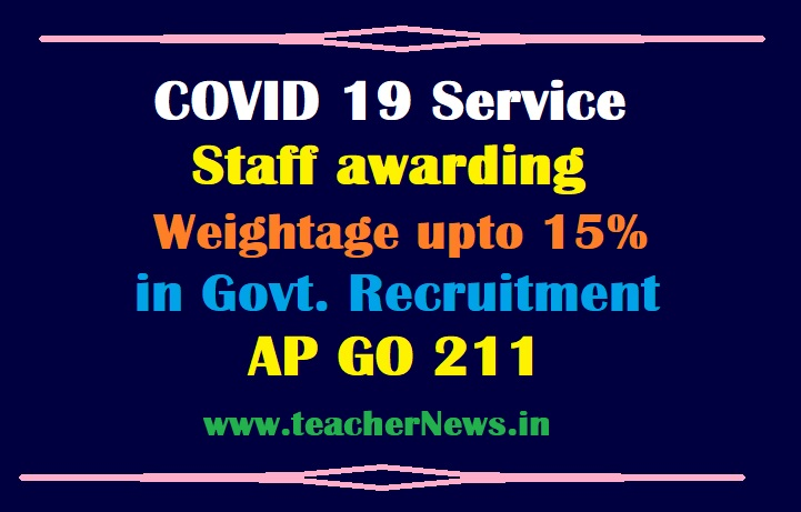 COVID-19 Service staff awarding Weightage upto 15% in Government recruitment GO 211