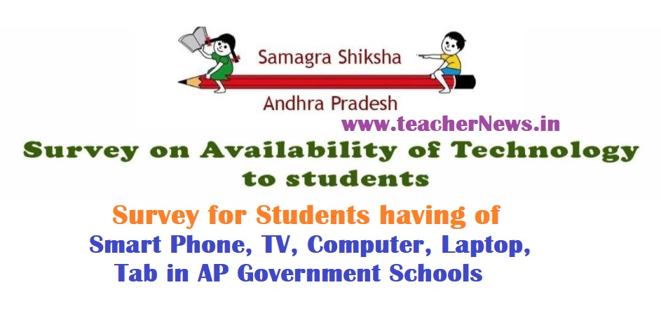 Survey for Students having of Smart Phone, TV, Computer, Laptop, Tab in AP Government Schools