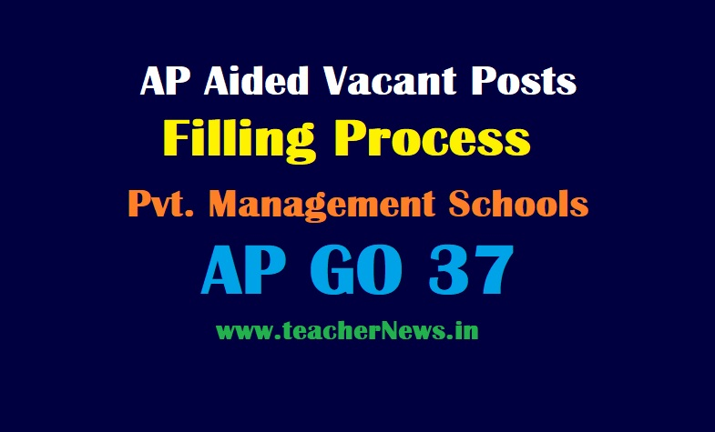 AP Aided Vacant Posts Filling Process in Private Aided Management Schools - AP GO 37