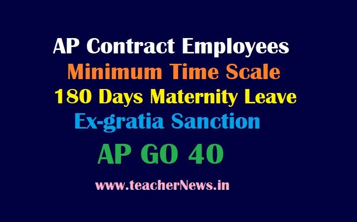 AP Contract Employees Time Scale, 180 Days Maternity Leave, Ex-gratia Sanction GO 40