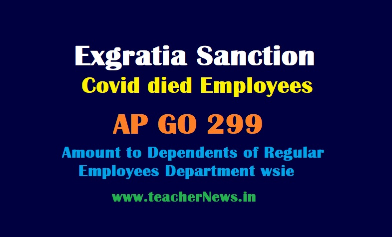 Exgratia Sanction with Covid died Employees - Amount to Dependents of the Regular employees GO 299