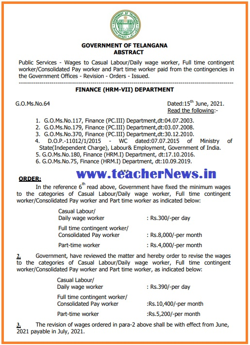 GO 64 Remuneration Change for TS Daily wage worker, Consolidated Pay worker (Full & Part Time)
