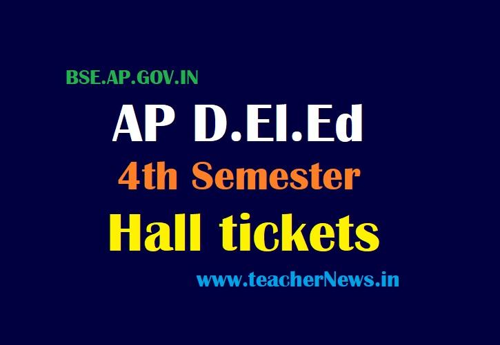 AP D.El.Ed 4th Sem Hall ticket 2021 for AP D.Ed 2nd Year IV Semester Exam Hall tickets for 2019-2021