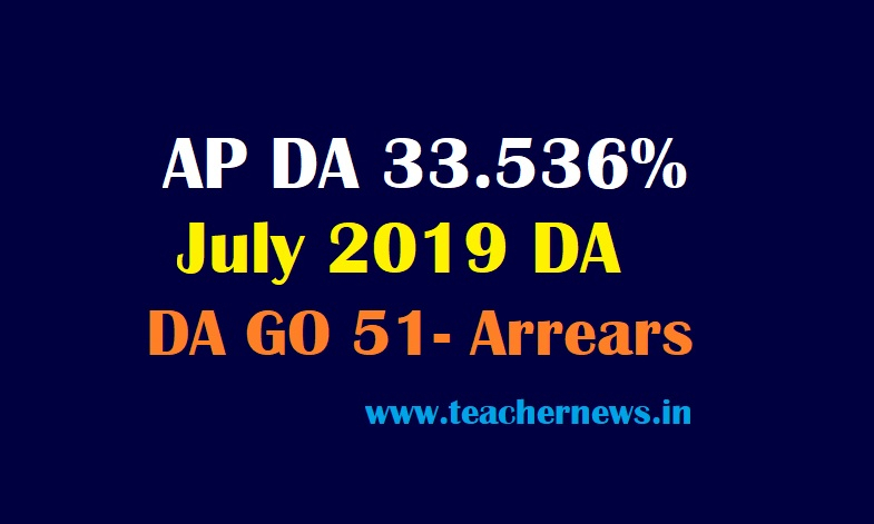 AP Employees DA 33.536% form Jan 2019 - AP New DA Arrears Enhanced @3.144% Table
