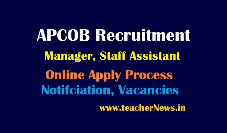 APCOB Manager Posts Recruitment 2021 Staff Assistant Online Apply Notification For 61 Vacancies