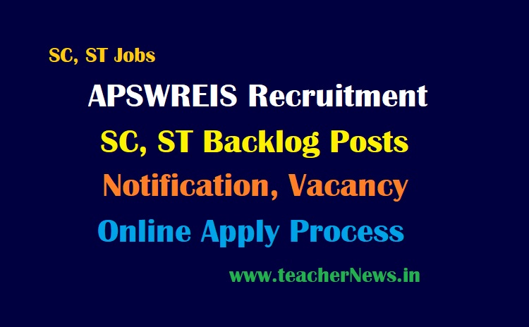 APSWREIS Backlog Recruitment 2021 SC, ST Backlog Posts Online Apply Notification,Vacancies