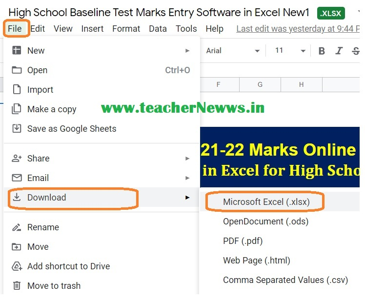 How to Download Baseline Test Marks Entry Software in Google Drive ?