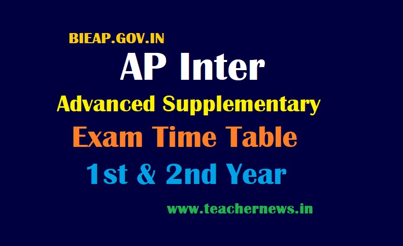 AP Inter Advanced Supplementary Time Table 2021 - AP Intermediate 1st & 2nd Exam Dates 2021