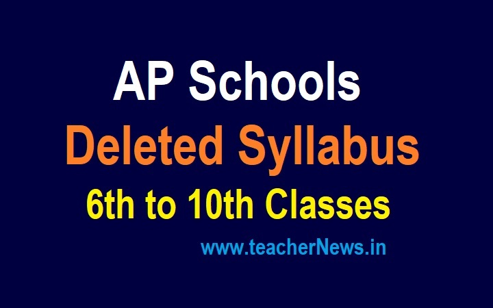 AP Schools Deleted Syllabus for 6th to 10th Classes All Subjects 2021-22   Reduced Syllabus