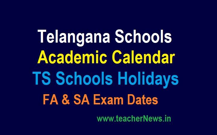 TS Schools Holidays 2021-22 FA SA Exam Dates   Telangana Schools Academic Calendar 2021-22